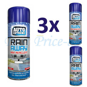 3 x Auto Extreme Rain Away Spray Repellent Vehicles Windscreen Protection 200ml