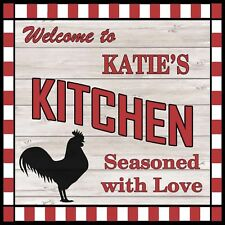 KATIE'S Kitchen Welcome to Rooster Chic Wall Art Decor 12x12 Metal Sign SS81
