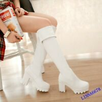Women Leather High Chunky Heel Platform Over Knee Boots Thigh Warm Shoes Fashion