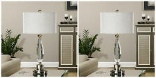 """TWO MODERN GLAM DECOR 31"""" CUT CRYSTAL TABLE LAMP BRUSHED NICKEL METAL UTTERMOST"""