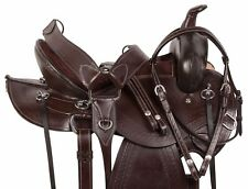 PRO 16 17 GAITED BLACK WESTERN PLEASURE TRAIL HORSE LEATHER SADDLE TACK