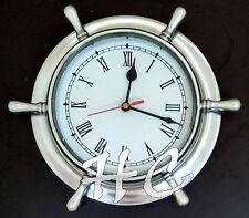"""9.5"""" Aluminium Ship Wheel Style Ship's Wall Clock Nautical Beach/Boat/Ship Decor"""