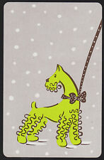 1 Single VINTAGE Swap/Playing Card DOG SCHNAUZER LEAD BOW & SNOW Lime/Grey