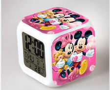 7 Color LED Night Light Alarm Clock mickey minnie cartoon Figures Watch Toy gift
