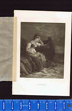 Agony of Suspense, Wife & Child waiting for Return of Husband- 1862 Engraving