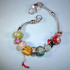 European Charm Bracelet NEW Floral Murano Style Red Shoe Charm Silver Beads USA