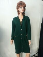 VTG Talbots Long Cardigan Sweater Coat Jacket Forest Green Pockets P to S/MED
