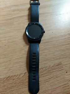 LG G Watch R W110 Black Stainless Steal Case Black Leather Strap - (W110)