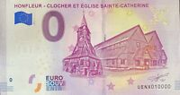 BILLET 0  EURO HONFLEUR CLOCHER ET EGLISE  FRANCE  2019  NUMERO 10000 DERNIER