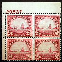 #698 20c Carmine Rose 1931 VF Plate #20537 Block of 4 *MNH*