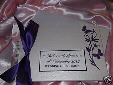 WEDDING GUEST BOOK EMBOSSED BUTTERFLIES DESIGN PERSONALISED & WITH MATCHING BOX