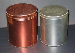 2 Vtg Metal Kitchen Pantry Storage Tins Canisters w Lids Primitive FREE SH