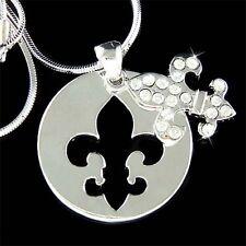 w Swarovski Crystal ~Fleur de Lis~ Dog Tag France Paris Lys Lily Flower Necklace
