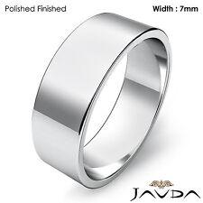 Wedding Band 7mm Plain 18k White Gold Women Flat Pipe Cut Ring 7.2gm Sz 6 - 6.75