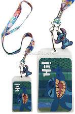 NEW Disney Lilo & Stitch Hawaii Ohana Family HI ID Holder Pin Lanyard W/ Charm