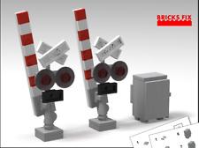 LEGO TRAIN CUSTOM (2) SIGNAL GATES + SIGNAL RELAY BOX w INSTRUCTIONS  LEGO TRAIN
