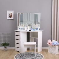 Modern Corner Dressing Table Makeup Desk w/ 5 Drawers & 3 Large Mirror White