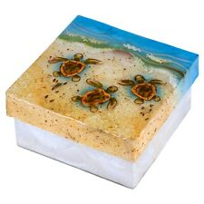 """Hand Painted Baby Sea Turtles Capiz Oyster Shell Jewelry Trinket Box 4"""" New!"""
