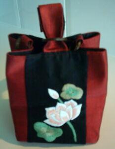 Sale Boho Festival Mini Bucket Wrist Bag Pure Silk Embroidered Lined Gift Idea