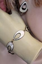 """JEMAX DENMARK WHITE GUILLOCHE ENAMEL STERLING BRACELET & EARRINGS 15MM X 7 1/2"""""""