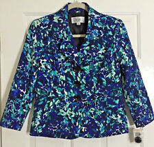 NEW Le Suit Women's Yacht Club Floral Blazer Size 2P NWT Ocean Blue Black
