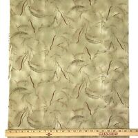 1 Yard Cotton Quilting Fabric Beige Leaves Wheat Floral Unbranded