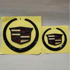 Set of 2 Black Color Cadillac Grille+Rear Emblem Badge Ornament Escalade Symbol