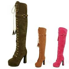 Over Knee Boots Medium (B, M) Width Lace Up Shoes for Women
