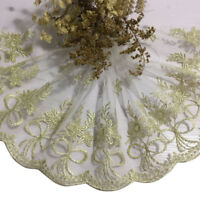 Gold Bowknot Lace Trim Embroidery Tulle Edge Trimming Cloth Vintage DIY Sew Net