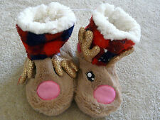 JUSTICE COZY CHRISTMAS REINDEER SLIPPERS BOOT STYLE  SIZE XXS 12 NWT