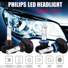 9005 H11 LED Headlight Total 4PCS 480W 48000LM Combo Kit 6500K Hi/Low Beam Bulbs