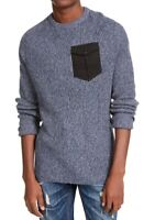American Rag Mens Sweater Navy Blue Large L Marled Knit Pocket Crewneck $40 027