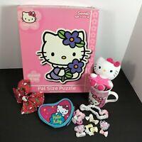 Lot Hello Kitty Christmas Bow, Hot Chocolate Mug Coin Purse, Plush, Floor Puzzle