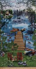 "23.5"" X 44"" Northwoods Lake Canoes Cabin Dock Ducks Cotton Fabric Panel D673.51"