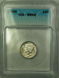 1939 Silver Mercury Dime 10c Coin ICG MS-68 GEM BU