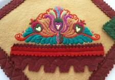 Vintage Pair Matyo Hungarian Embroidered Doilies Wool Floral Folk Art Applique