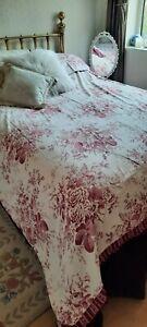 DORMA Raspberry Pink White Toile floral King size Duvet Cover Set 100% Cotton