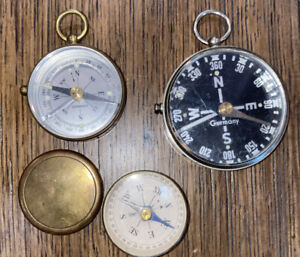 3 Antique GERMAN Brass Silver HAND HELD MINI COMPASS Compasses Set of 3