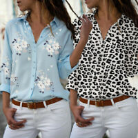 Women Fashion V-neck Floral Shirt Ladies Blouse Long Sleeve Tops Loose Plus Size
