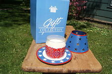 Avon 2003 Red White And Blue Country Candle Jar Lamp