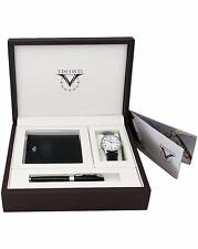 "Visconti ""Antares"" White Dial Watch w/ Rollerball Pen and Wallet Set"
