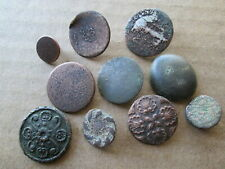 Original Period 18Th Century Brass Gilt Military/Civilian Patterned Buttons,Used