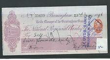 wbc. - CHEQUE - CH861 - USED -1896 -NATIONAL PROVINCIAL Bk of ENGLAND BIRMINGHAM