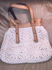 Lucky Brand Vintage Inspired Tan Ivory Woven Leather Trim Hobo Hippie Purse Bag