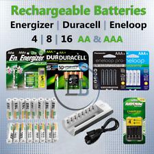 AA / AAA Rechargeable Batteries 4 8 12 16 DURACEL ENERGIZER EBL ENELOOP NiMH lot