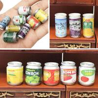 3/5Pcs 1:12 Dollhouse Accessories Jam Beverage Cans Miniature Play Kitchen FE