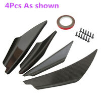 4Pcs Carbon Fiber Look Design Front Bumper Lip Splitter Spoiler Deflector Wings