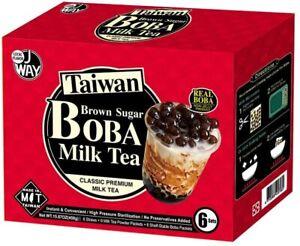 Bubble Tea Kit, 6 Drinks, 6 Tapioca Pearls Boba 50g Each, 6 Straws, Complete Set