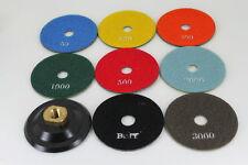 TEMO 8pcs 4 inch diamond Marble Stone WET Polishing Pad Wheel Disc SET w holder