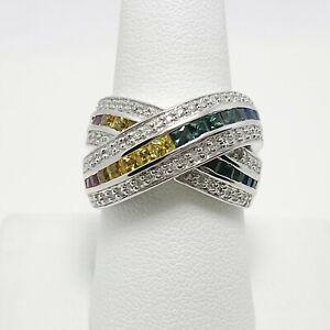 $3,000 Effy 3ctw Rainbow Sapphire Watercolor Diamond 14k Gold Ring (5281)